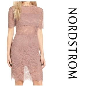 NWT Nordstrom Leith sheath lace dress S